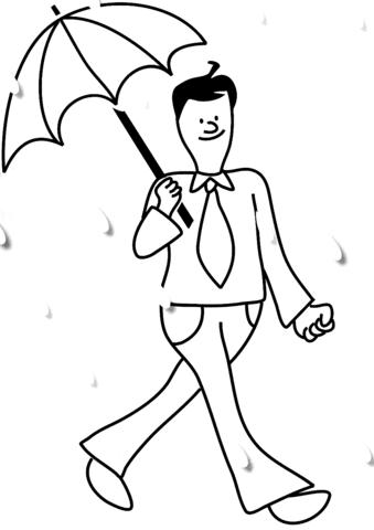 Dibujo De Hombre Con Paraguas En La Lluvia Para Colorear Dibujos