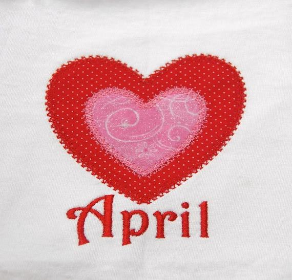 Valentine Applique Double Heart Onesie