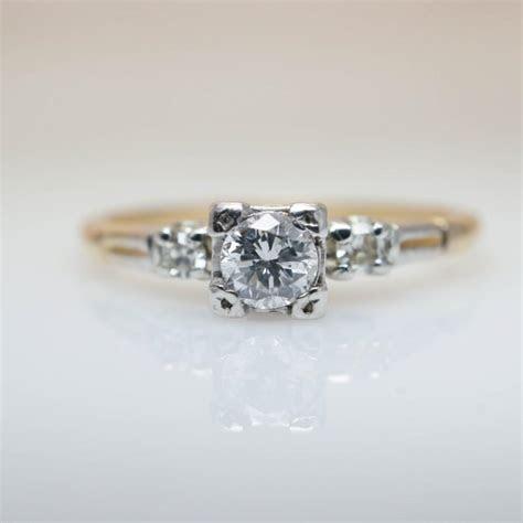 Art Deco Diamond Ring 1940s Engagement Ring Vintage