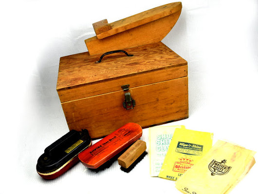Vintage Shoe Shine Kit Unique Hand Made Wood Box 2 Brushes Plus Buffers