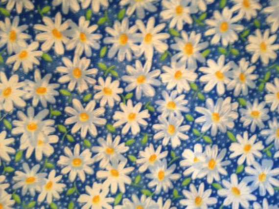 Daisy Flowers With Blue Background Fabric By The by mamagotawork, $9.00