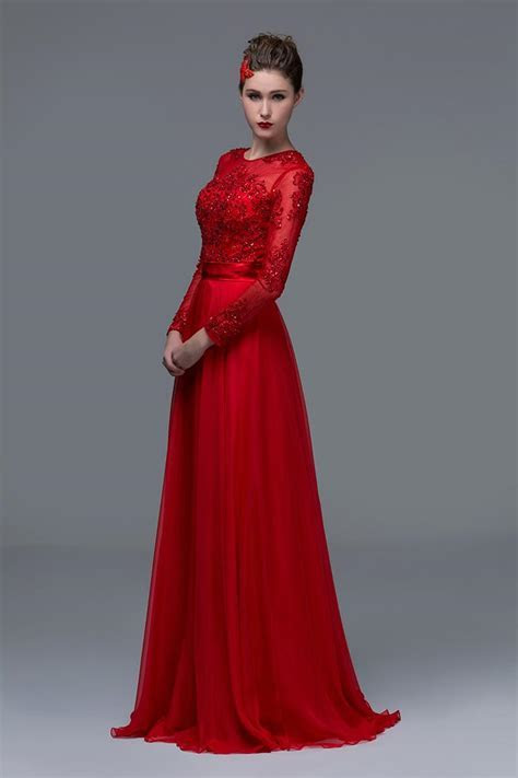 Chiffon High Neck Illusion Long Sleeves Prom Dresses 2016