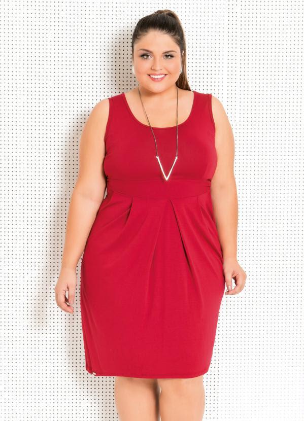 Vestido (Vermelho) com Drapeado Frontal