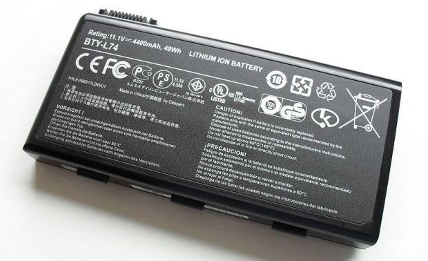 Bateria de íon-lítio para notebooks, o Li-Ion (Foto: Wikimedia Commons) (Foto: Bateria de íon-lítio para notebooks, o Li-Ion (Foto: Wikimedia Commons))