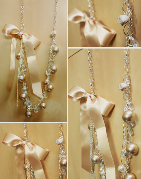 beaded pearl, glass, lampwork and ribbon necklace