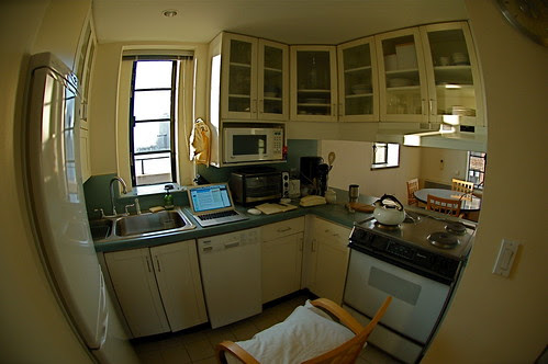 Set up to do a radio show in my Brooklyn kitchen