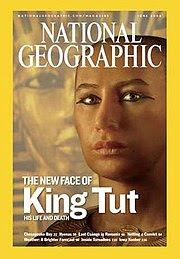 A rendering of Tutankhamun on the cover of National Geographic in 2005 - considered controversial by some because it exhibits hazel eyes and a mid-range of skin tones