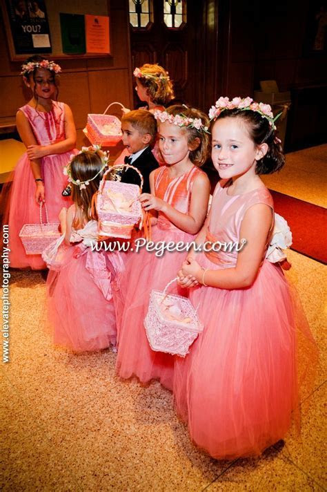 Watermelon and Coral Rose Silk Flower Girl Dresses with