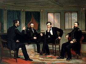 """Painting of four men conferring in a ship's cabin, entitled """"The Peacemakers""""."""