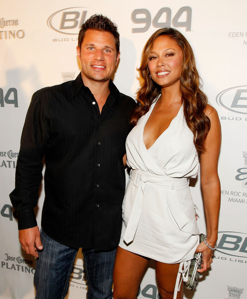 Singer/tv personality Nick Lachey and TV personality Vanessa Minnillo attend the Super Skins Kick Off Party at Hotel 944 featuring Snoop Dogg at The Eden Roc Renaissance Miami Beach on February 4, 2010 in Miami Beach, Florida.