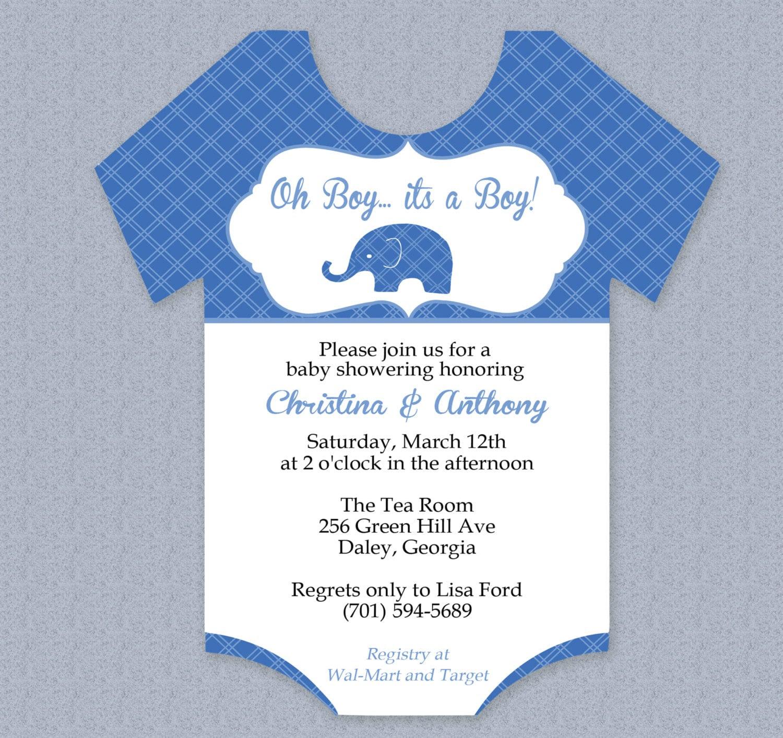 Plaid Elephant Onesie Baby Shower Invitation by MyDIYDesigns