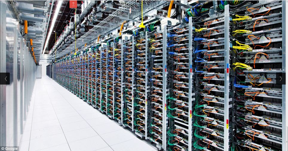 Each server rack has four switches, connected by a different coloured cable. Colours are kept the same throughout data centres so staff know which one to replace in case of failure.