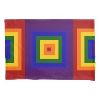 Rainbow Squares Geometric Pattern Pillowcase
