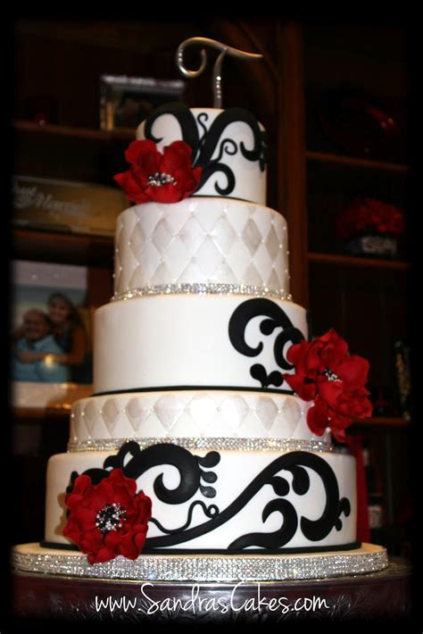 On Birthday Cakes: Red, Black and White Wedding Cake