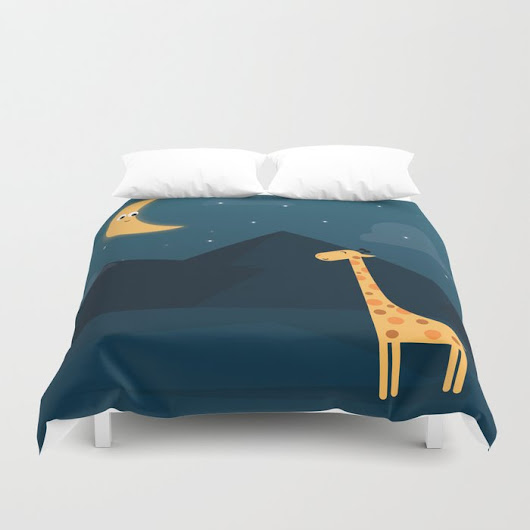 The Giraffe and the Moon Duvet Cover