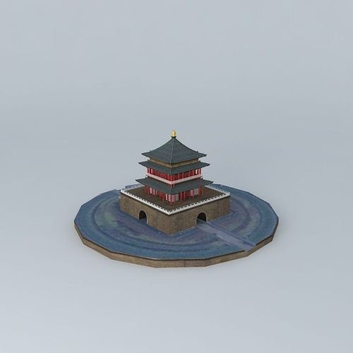 Bell Building, Xi'an, China free 3D Model .max .obj .3ds .fbx .stl .dae