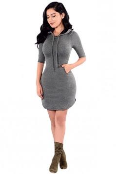 Back Drawstring Bodycon Dresses Plain Hooded shopping