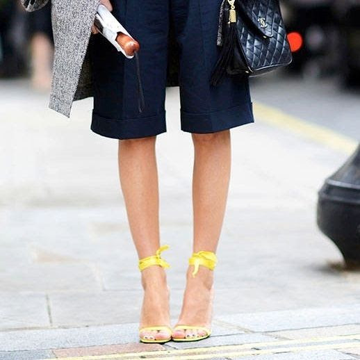 Le Fashion Blog Street Style Classic With A Twist London Fashion Week Quilted Chanel Bag Navy Long Knee Length Shorts Bright Ankle Ribbon Wrap Yellow Heeled Sandals Via Elle Street Chic photo Le-Fashion-Blog-Street-Style-Classic-With-A-Twist-London-Fashion-Week-Plaid-Top-Knee-Length-Shorts-Yellow-Sandals-Via-Elle-Street-Chic.jpg