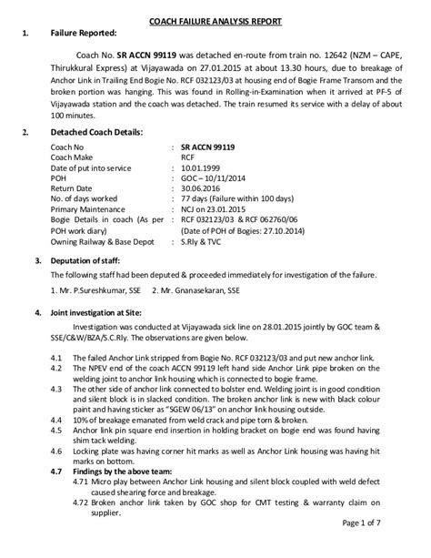 99119 coach failure report