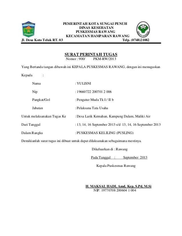 surat perintah tugas puskesmas rawang kota sungai penuh provinsi jambi