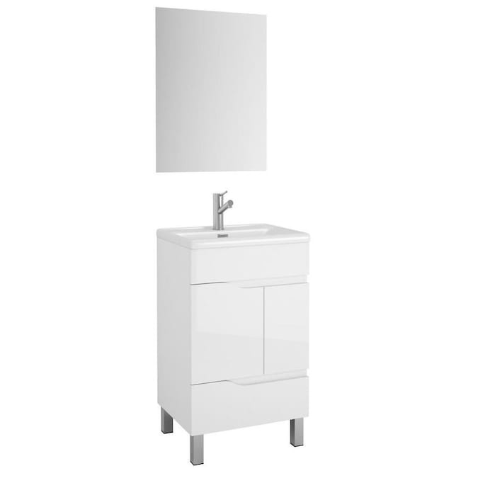 Eviva Charm 20 In White Single Sink Bathroom Vanity With White Porcelain Top In The Bathroom Vanities With Tops Department At Lowes Com