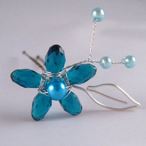 Emily Mah Jewelry Designs - Teal Crystal Flower Bobby Pin