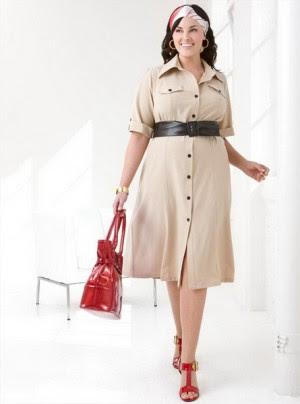 Платья большого размера с широким поясом уменьшают талию