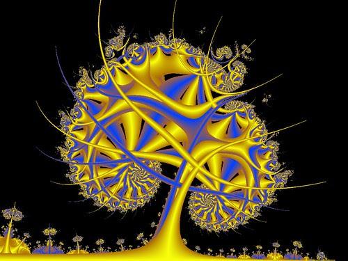 Golden Blue Tree at Night