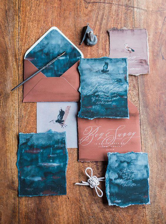 indigo und Kupfer weddign Briefpapier mit einem raw edge-für einen kontrastierenden look