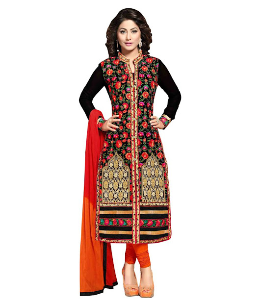 Buy fabfirki Black embroidered georgette unstitched salwar with dupatta at 19% off Online India at Kraftly - FABLEM72294MTY30892