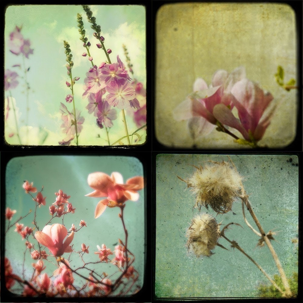 SALE - Softness - a sea of greens and pinks spring and summer soft delicate flower photos ready to frame and hang on your walls - Set of 4 5x5 Metallic TTV Flower Fine Art Photos