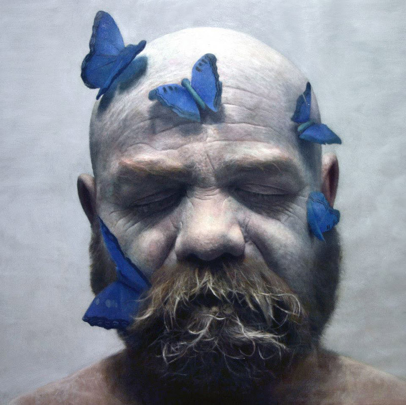 Francisco with butterflies, 2013 oil