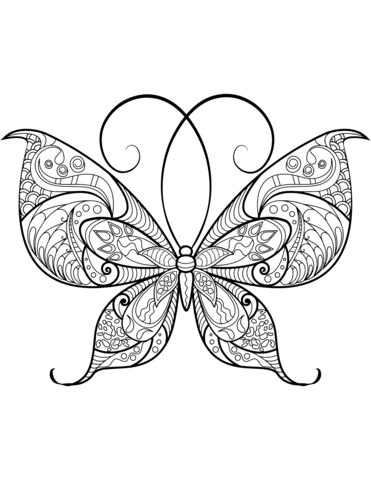 Dibujo De Zentangle De Mariposa Para Colorear