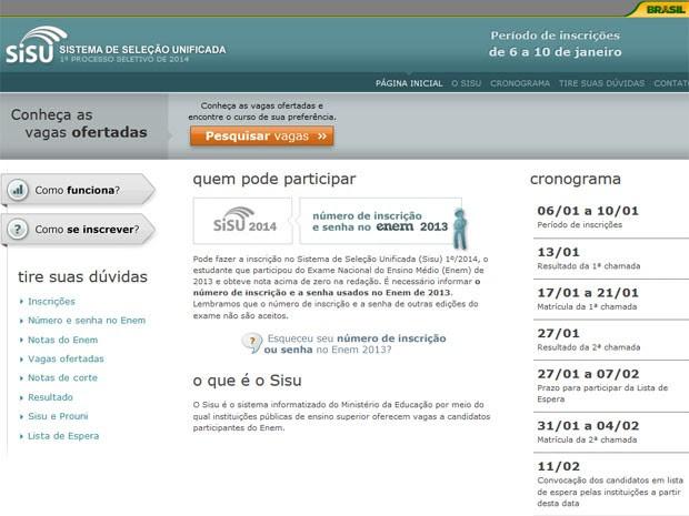 Site do Sisu disponibiliza a consulta às vagas que estarão disponíveis para cursos superiores (Foto: Reprodução/Inep)