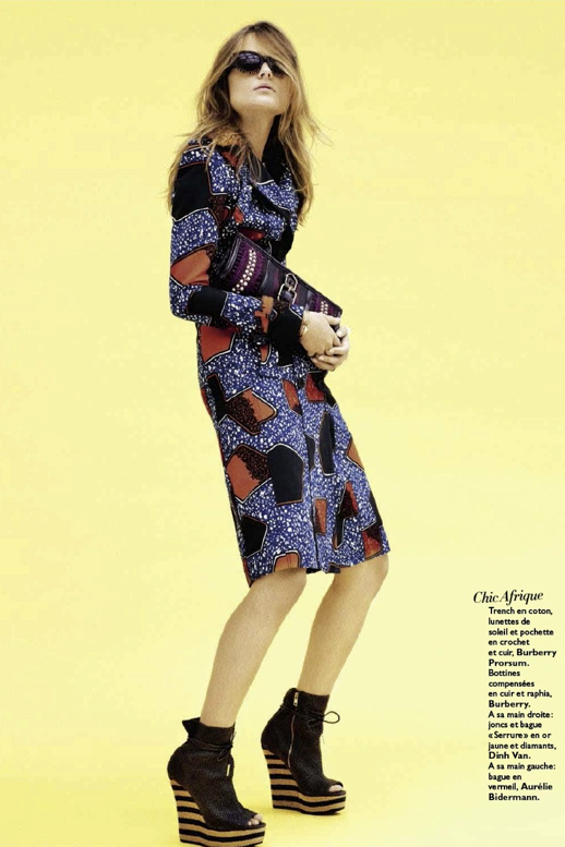 GRAZIA FRANCE BURBERRY PRINT DRESS ANKLE BOOTS CLUTCH RAFIA SPRING SUMMER 2012 4