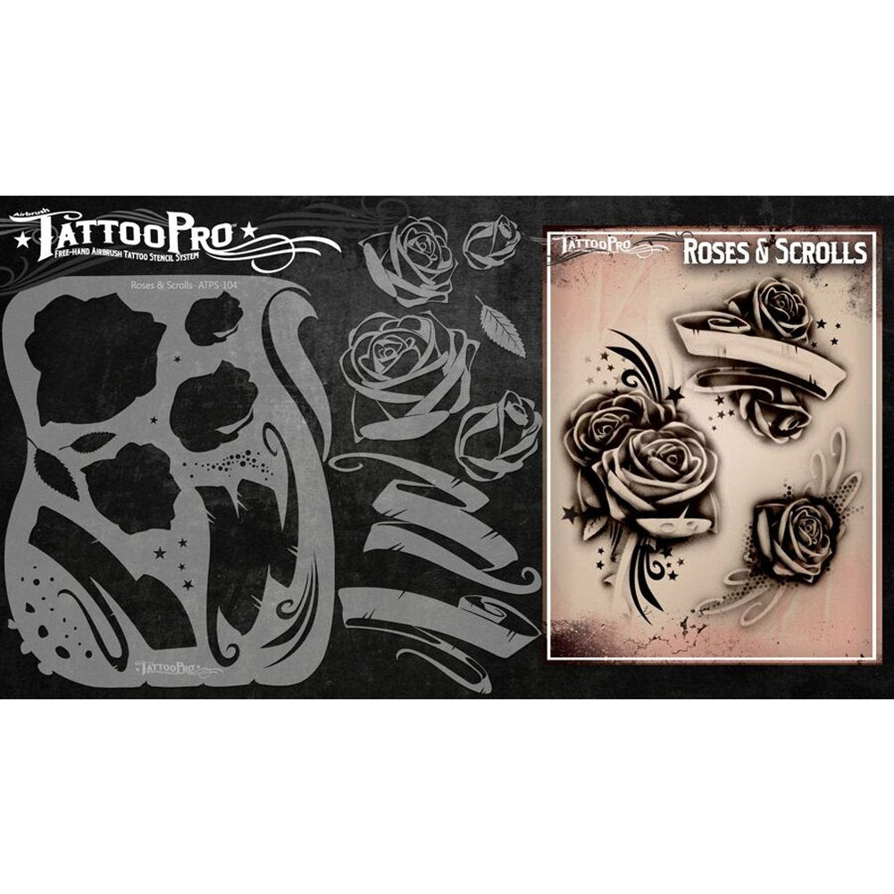 Wisers Roses Scrolls Tattoo Pro Stencil Dotsys Entertainment Co