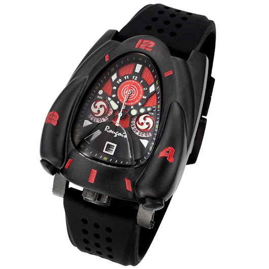 Black and Red Rougois Rocket Watch