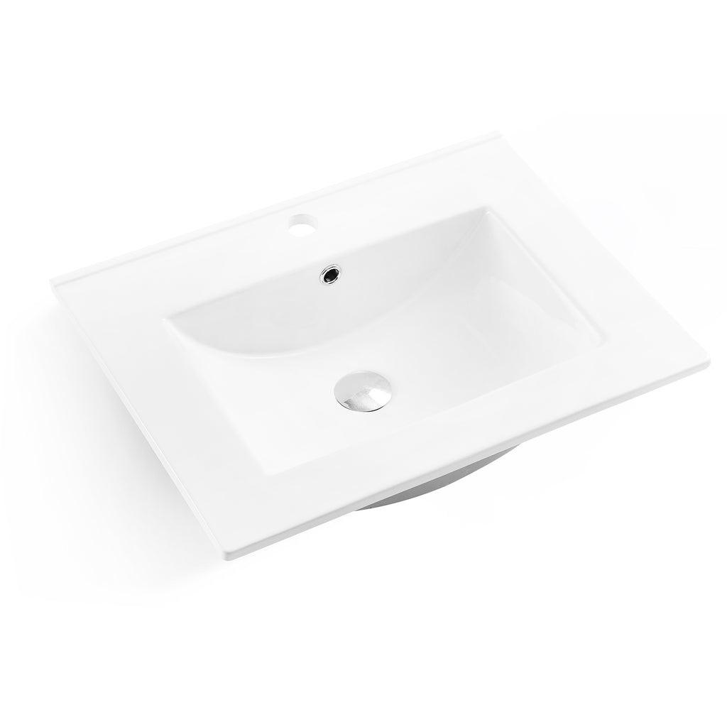 Dax Square Ceramic Single Bowl Top Mount Bathroom Sink 24 3 8 X 18 9
