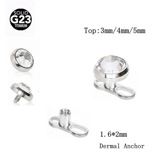 10 Pieces Titanium Crystal Dermal Anchors - free shipping worldwide