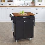 Copper Grove Hilo Black Finish Wood Cuisine Cart (Cuisine Cart Black Finish with Oak Top)