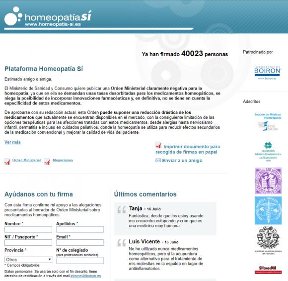 Antigua web contra el borrador de Orden Ministerial regulador de la homeopatía