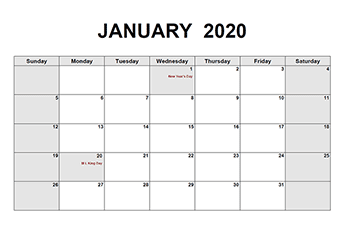 2020 Calendar Monthly Pdf