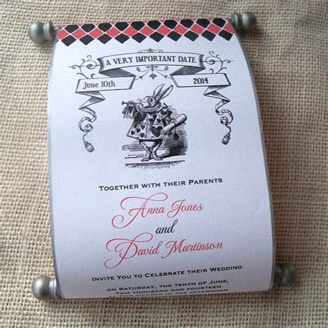 Alice in Wonderland Wedding Invitation Scroll, set of 5
