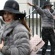 Winter Wonder Woman: Kelly Brook wraps up in stylish faux fur coat as she heads out in heavy snowfall