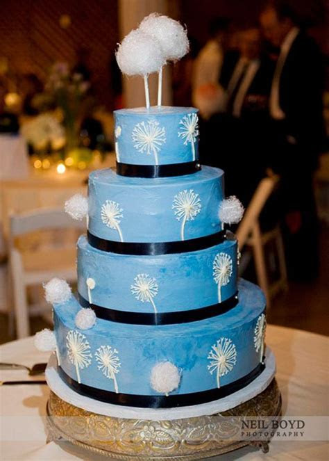 One of our favorite cakes! Blue wedding cake with