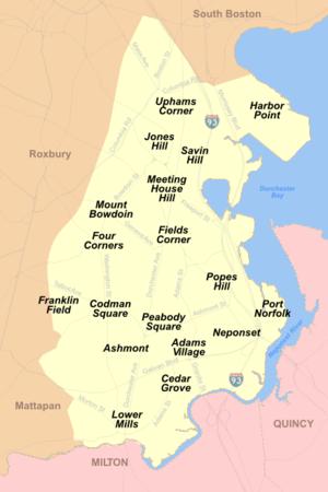 English: Map of the Neighborhoods of Dorcheste...