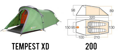 Tempest XD 200 durable 2 man tent