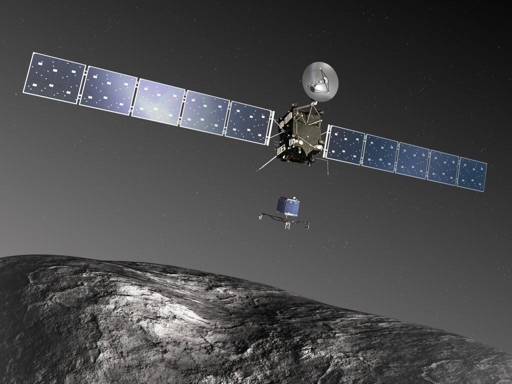 Rosetta y Philae al cometa 67P.  Crédito: ESA-C.  Carreau / ATG medialab