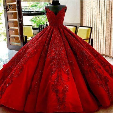 Luxury Red Beaded Wedding Dresses 2019 Saudi Arabic Puffy