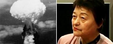 (L-R) Mushroom cloud from Nagasaki bombing (AP), Kazuko Yamashita (Reuters)